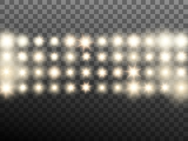 Warm beige stage or stadium spotlights. transparent background only in