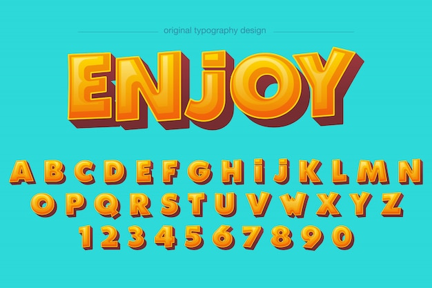 Warm bold bevel orange comic typography design