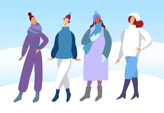 Теплая одежда на зиму. группа молодых женщин