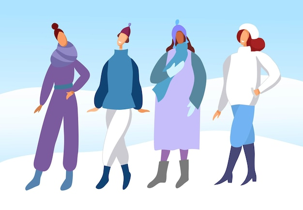 Warm clothes for winter. group of young women