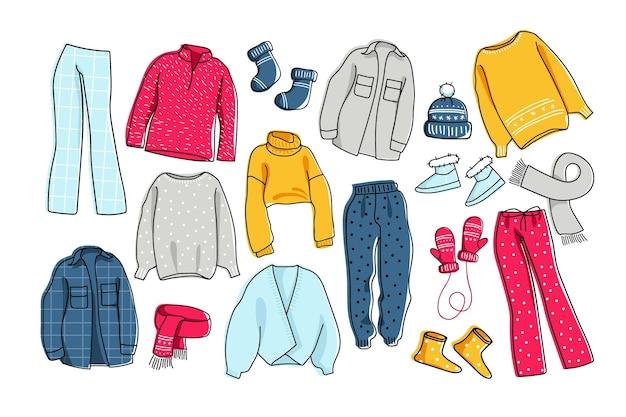 Теплый комплект одежды зимняя повседневная одежда для домашних прогулок и отдыха уютные теплые свитера