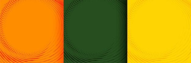 オレンジグリーンと黄色の色合いの暖かい色のハーフトーンの背景