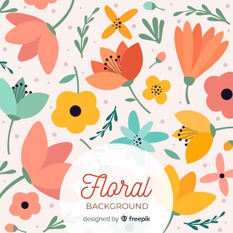 Warm coloured flowers flat background