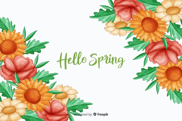 Warm coloured flowers with hello spring quote