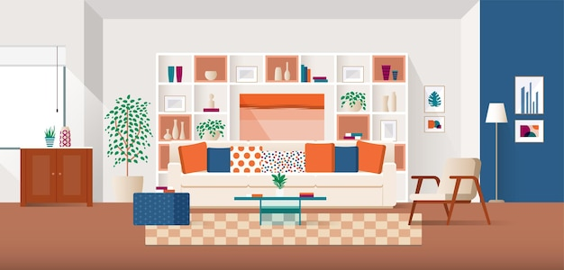 Warm and cozy home interior with comfortable sofa and colorful cushions in flat design
