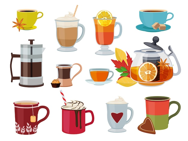 Warm drinks. hot breakfast liquid products tea coffee with milk mulled wine  pictures set.