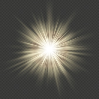 Warm glow star burst flare explosion transparent light effect.