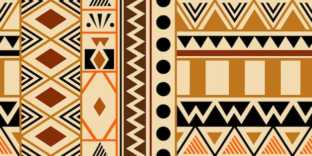 Warm hand drawn tribal seamless pattern with ethnic abstract symbols