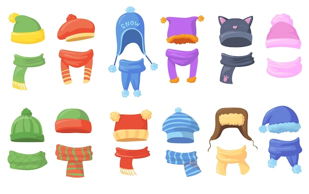 Warm hats and scarfs for winter illustrations set