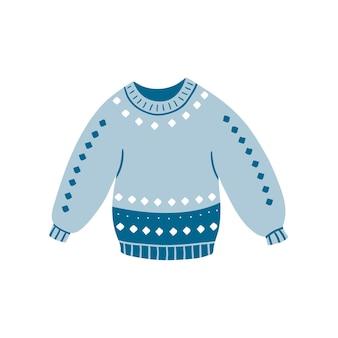 白い背景で隔離の秋または冬のシーズンのための暖かいニットの青い手作りセーター