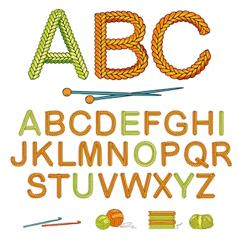 Warm knitting alphabet set
