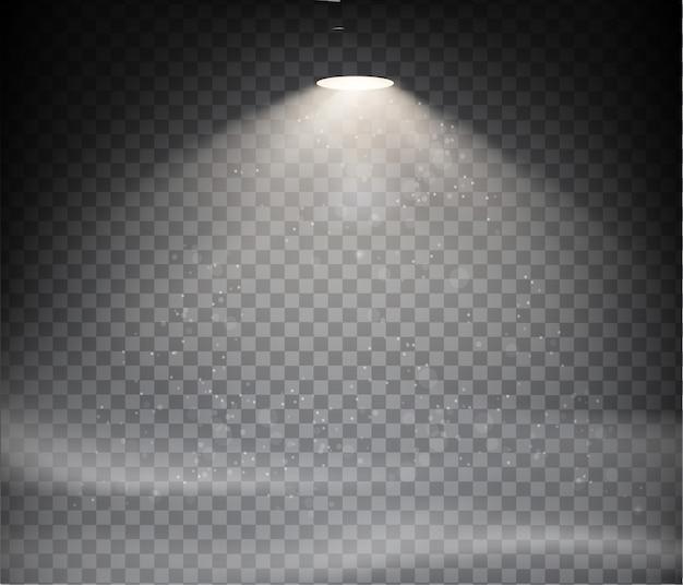 透明な背景に設定された暖かい光