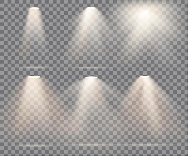 透明な背景に煙のある暖かい光。ベクトルイラスト