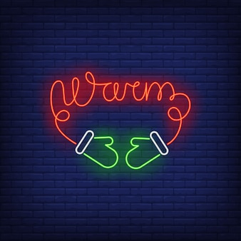 Warm neon lettering made of mittens string