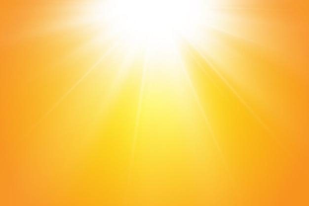 노란색 바탕에 따뜻한 태양입니다. leto.bliki 태양 광선.