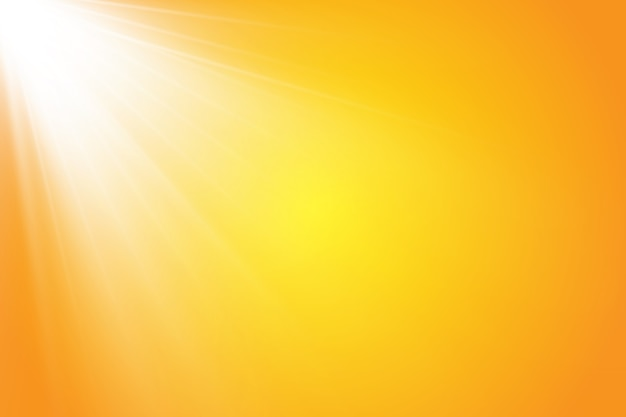 黄色の背景に暖かい太陽。 leto.bliki太陽光線