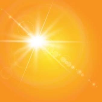 黄色の背景に暖かい太陽。太陽光線。