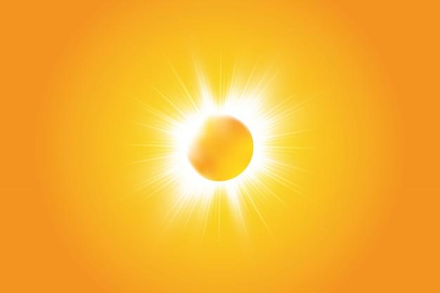 黄色の背景に暖かい太陽。夏。グレア。太陽光線。