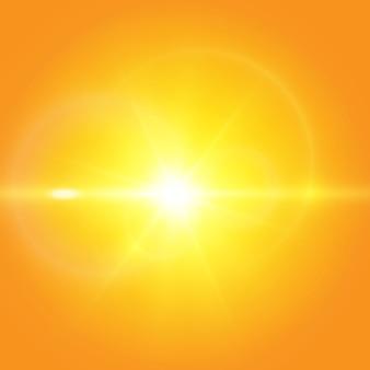 黄色の背景に暖かい太陽。