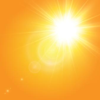 黄色の背景に暖かい太陽