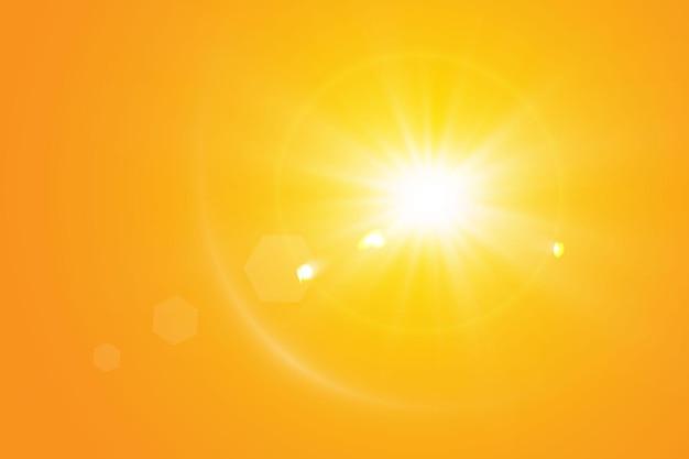 黄色い表面の暖かい太陽