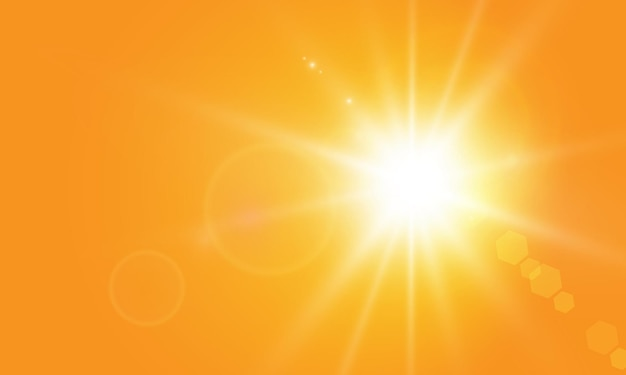 Теплое солнце на желтом фоне