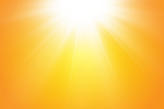 Warm sun on a yellow background. leto.bliki solar rays.