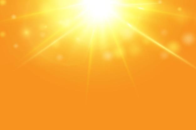 Warm sun on a yellow background letobliki solar rays