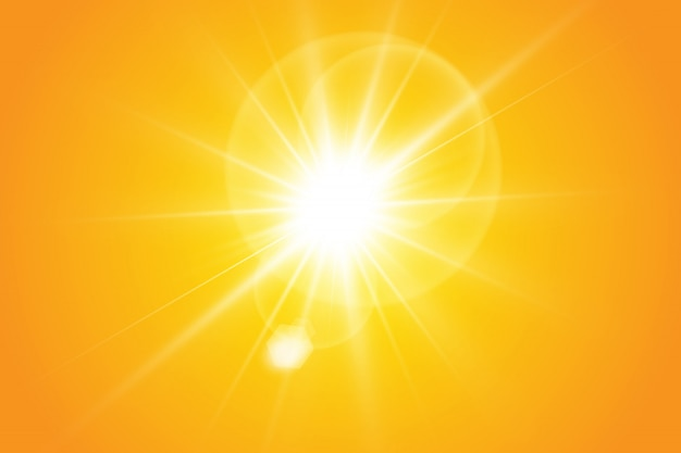 Warm sun on a yellow background. solar rays
