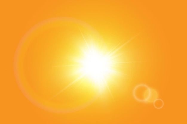 Warm sun on yellow background