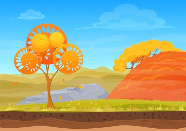 Warm sunny autumn nature landscape