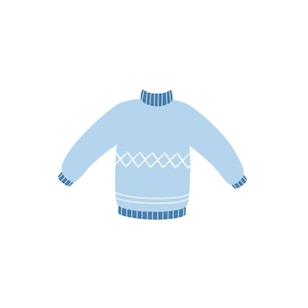 Warm sweater in doodle style isolated on a white background. vector illustration of a sweater.