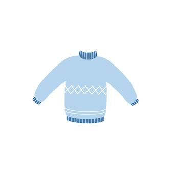 Теплый свитер в стиле каракули, изолированные на белом фоне. векторная иллюстрация свитера.