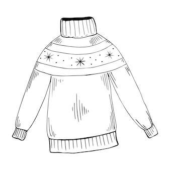 Warm sweater vector clipart. hand-drawn cute doodle knitted sweater, christmas illustration.