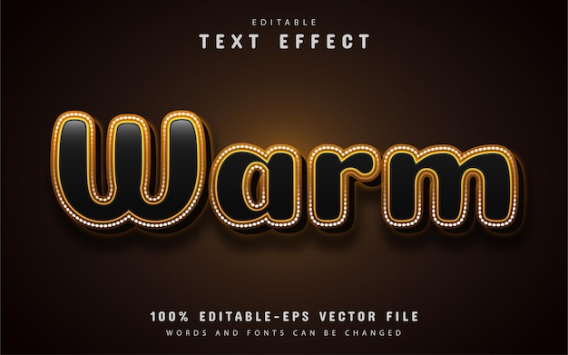 Warm text, editable 3d text effect