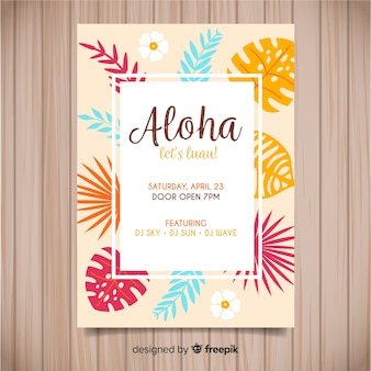 Warm tones luau poster template