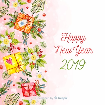 Warm tones watercolor new year background