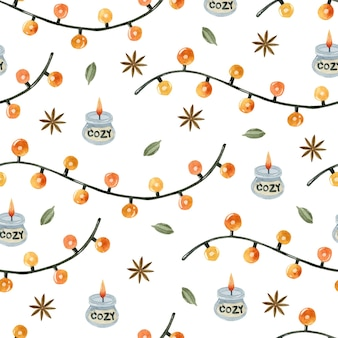 따뜻한 수채화 화환 원활한 패턴