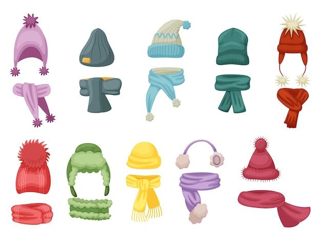 暖かい着用。秋と冬の帽子、暖かいスカーフとスカーフが白い背景に設定されたニットキャップの衣装。暖かい頭と首の摩耗のイラスト。寒い季節の子供服アクセサリー