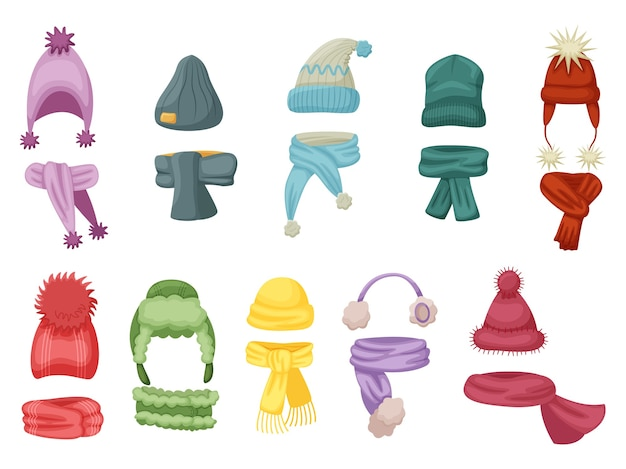 Warm wear. autumn and winter hat, knit cap outfit with warm scarf and scarves  set on white background. warm head and neck wear  illustration.children clothes accessory for cold weather