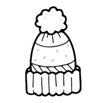Warm winter knitted hat with pompom in doodle style