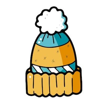 落書きスタイルのポンポンと暖かい冬のニット帽子