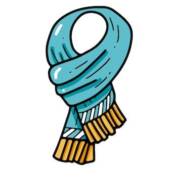 프린지 낙서 스타일의 획 일러스트와 함께 따뜻한 겨울 스카프