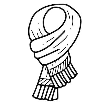 フリンジ落書きスタイルのストロークイラストと暖かい冬のスカーフ