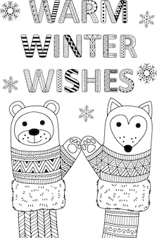 Warm winter wishes best friends funny mittens greeting card coloring book page for adults