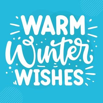 Теплые зимние пожелания премиум зимние надписи векторный дизайн