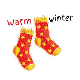 Теплые зимние шерстяные красные носки с желтыми звездочками.
