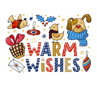 Warm wishes greeting card with funny dog and birds