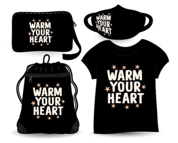 Tシャツとマーチャンダイジングのための心のレタリングデザインを温める