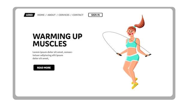 워밍업 근육 운동 여자 선수 벡터입니다. 밧줄을 건너 뛰는 근육을 워밍업 젊은 여자. 캐릭터 레이디 체육관 웹 플랫 만화 그림에서 낚시를 좋아하는 액세서리와 함께 운동을 확인